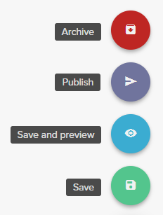 The red button is archive, the purple button is publish, the blue button is save and preview, and the green button is save.