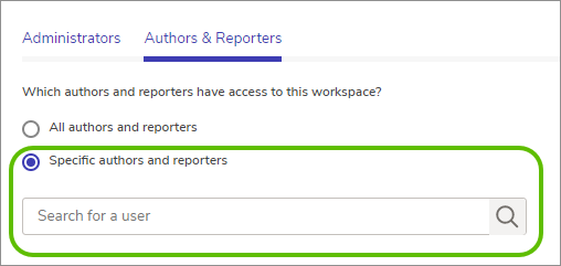 Specific authors and reporters radio button